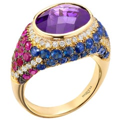 18 Karat Rose Gold Amethyst Venice Cocktail Ring with Ruby, Sapphire and Diamond