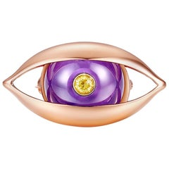 18 Karat Rose Gold, Amethyst, Yellow Diamond-The EYE Unisex Brooch