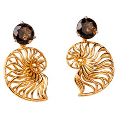 18 Karat Rose Gold Ammonite Jackets on Smoky Quartz Studs