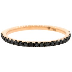 18 Karat Rose Gold and 0.21 Carat Black Diamond Half Stack Eternity Ring, Alessa