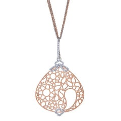 18 Karat Rose Gold and 0.25 Carat Diamond Necklace