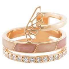 18 Karat Rose Gold and 0.36 Carat White Diamonds Sunrise Fairy Ring