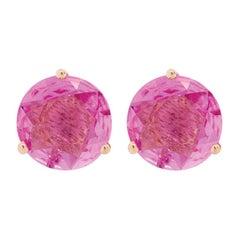 18 Karat Rose Gold and 1 Carat Lu Pink Sapphire Stud by Alessa Jewelry