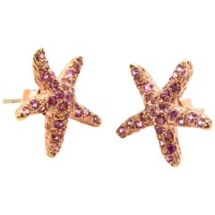 18 Karat Rose Gold and 1.35 Carat TW, Pink Sapphire Star Fish Stud Earrings