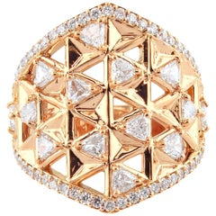 18 Karat Rose Gold and 1.71 Carat Colorless Diamonds Shield Ring, Alessa Jewelry