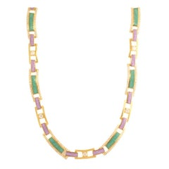 18 Karat Rose Gold and 1.78 Carat White Diamond Spectrum Enamel Necklace, Alessa