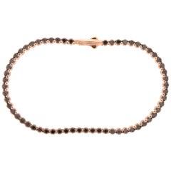 18 Karat Rose Gold and 2.27 Carat Black Diamond Tennis Bracelet, Alessa Jewelry