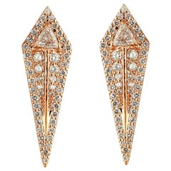 18 Karat Rose Gold and 2.72 Carat Colorless Diamond Arrow Studs Earrings