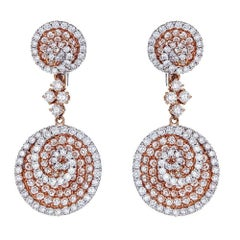 18 Karat Rose Gold and 5.33 Carat Diamond Earrings