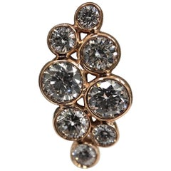 18 Karat Rose Gold and Bezel Set Diamond Cluster Ear Studs