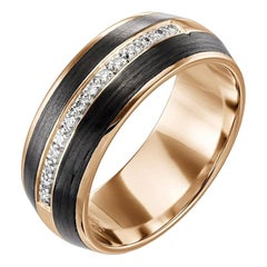 18 Karat Rose Gold and Carbon Fiber Diamond Rounded Band