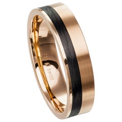 Furrer Jacot 18 Karat Rose Gold and Carbon Fiber Wedding Band