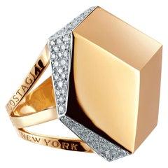 Paolo Costagli 18 Karat Rose Gold and Diamond Brillante Cocktail Ring