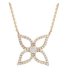 18 Karat Rose Gold and Diamond Flower Pendant