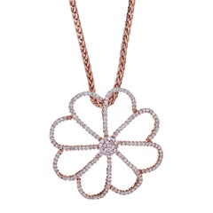 18 Karat Rose Gold and Diamond Flower Pendant with 14 Karat Rose Gold Chain