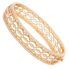18 Karat Rose Gold and Diamond Heritage Bangle Bracelet