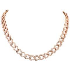 18 Karat Rose Gold and Diamond Kashmir Chain Necklace