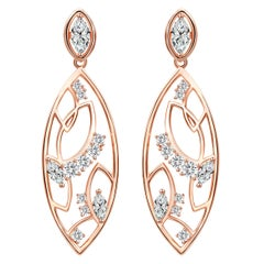 18 Karat Rose Gold and Diamond Lattice Earrings
