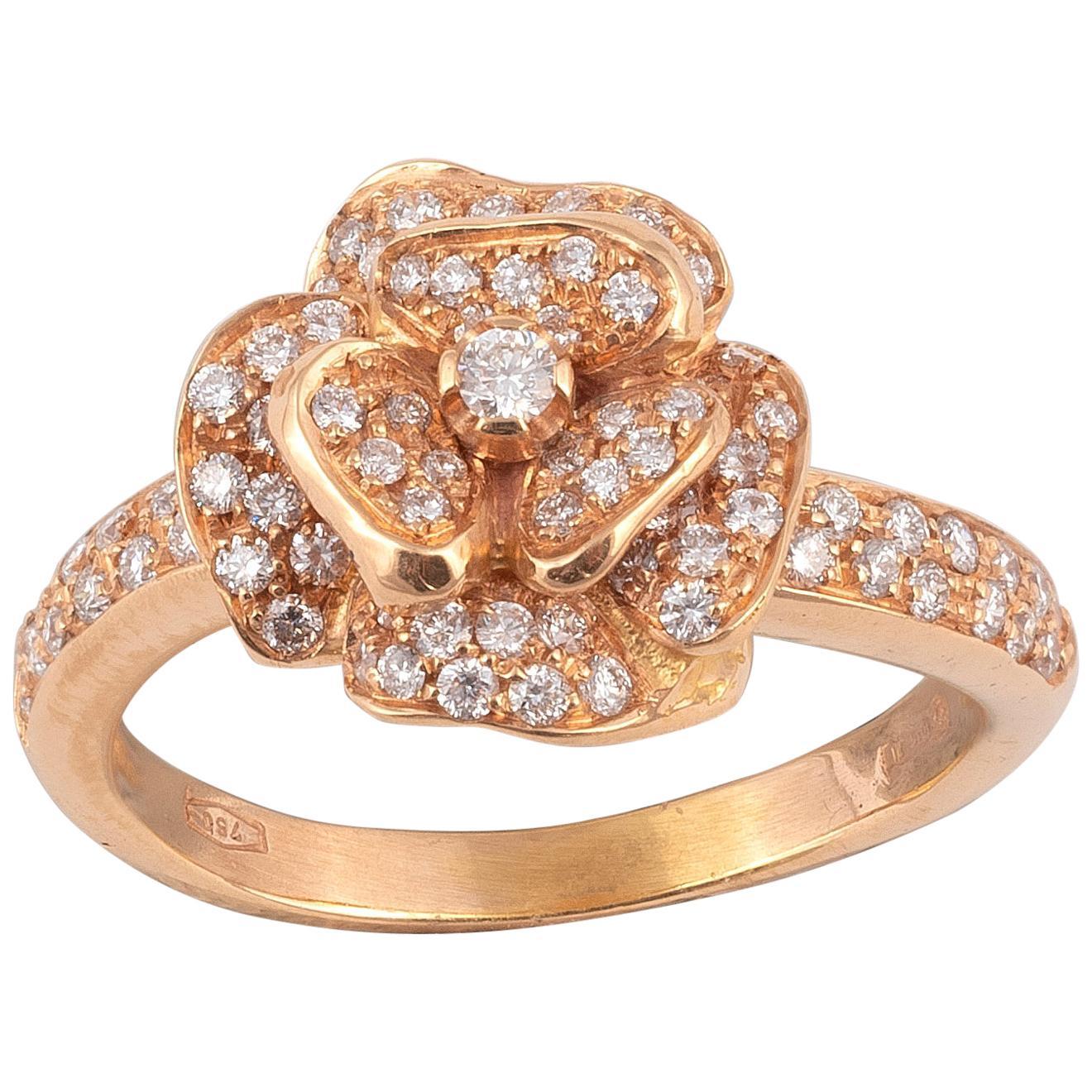 18 Karat Rose Gold and Diamond Ring