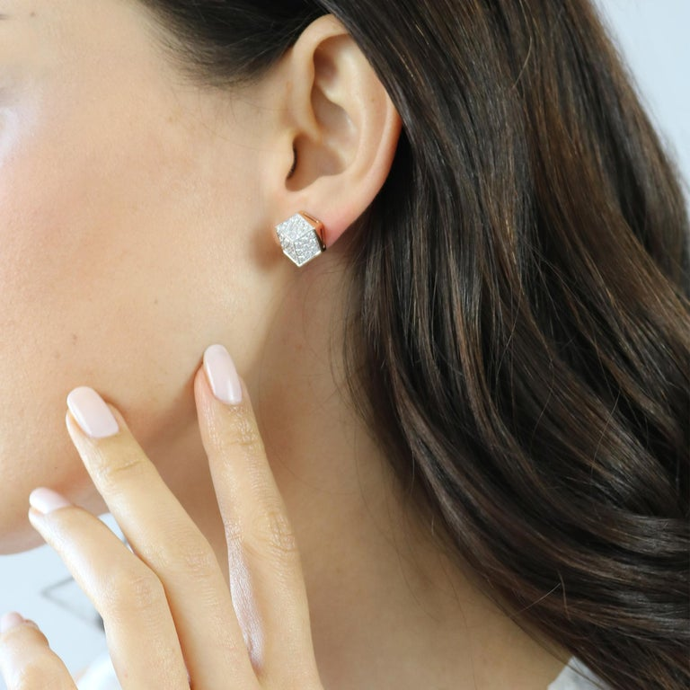 Contemporary 18 Karat Rose Gold and Diamond Stud Earrings For Sale