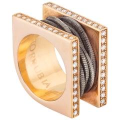 18 Karat Rose Gold and Diamonds Modern Fashion Ring