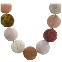 18 Karat Rose Gold and Druzy Quartz Necklace