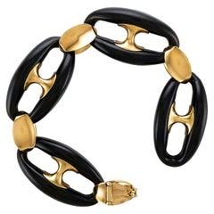 18 Karat Rose Gold and Ebony Marine Link Bracelet