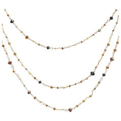 18 Karat Rose Gold and Multi-Color Diamond Necklace