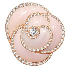 18 Karat Rose Gold and Pink Opal and Diamond Ring