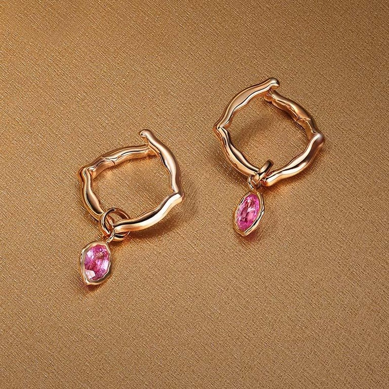 Contemporary 18 Karat Rose Gold and Pink Sapphires Hoop Earrings For Sale