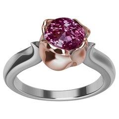18 Karat Rose Gold and Platinum Ceritfied Pink Sapphire 1.18 Carat Tulip Ring
