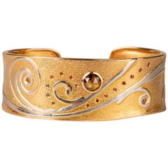 18 Karat Rose Gold and Platnium Cuff with Brown and Cabernet Diamonds