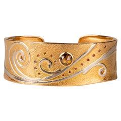 18 Karat Rose Gold and Platnium Cuff with Brown and Cabernet Diamonds