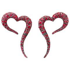 18 Karat Rose Gold and Rubies Heart Shaped Earrings