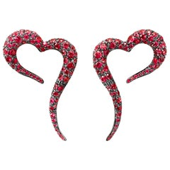 18 Karat Rose Gold and Rubies Small Heart Shaped Earrings