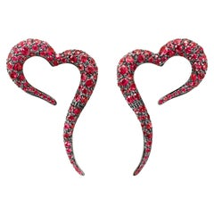 18 Karat Rose Gold and Rubies Heart Shaped Earrings