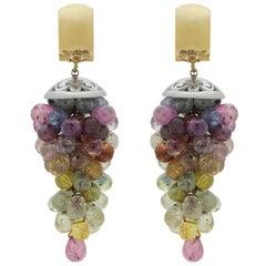 18 Karat Rose Gold and Sapphire Briolette Drop Earrings