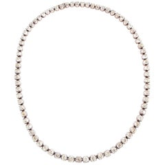 18 Karat Rose Gold and Silver, 21.74 Carat Diamond Necklace