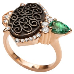 18 Karat Rose Gold and Silver Ring with Pear Shaped Zambian Emerald and Diamonds