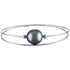 18 Karat Rose Gold and South Sea Tahitian Pearl Wire Bangle