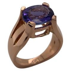 18 Karat Rose Gold and Tanzanite 3.94 Carat Ring