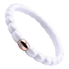 18 Karat Rose Gold and White Ceramic Diamond Bracelet