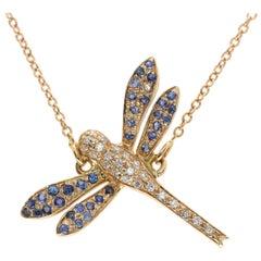 18 Karat Rose Gold and White Diamond and Blue Sapphire Dragonfly Bracelet