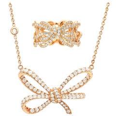 18 Karat Rose Gold and White Diamonds Band Ring and Pendant