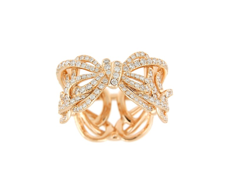 Women's 18 Karat Rose Gold and White Diamonds Bow Band Ring For Sale