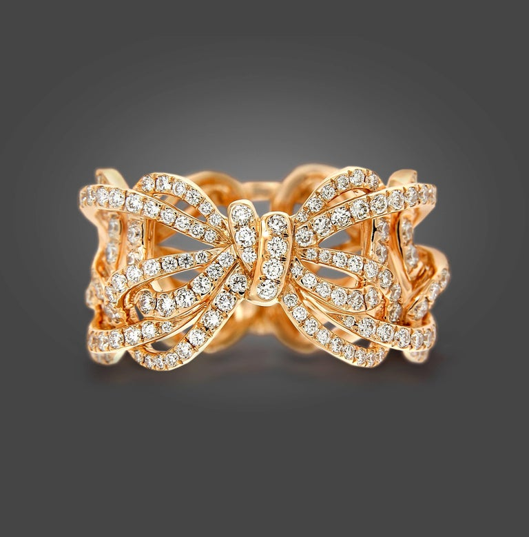18 Karat Rose Gold and White Diamonds Bow Band Ring For Sale 2