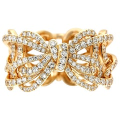 18 Karat Rose Gold and White Diamonds Bow Band Ring