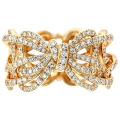 18 Karat Rose Gold and White Diamonds Bow Band Ring