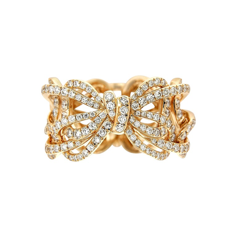 18 Karat Rose Gold and White Diamonds Bow Band Ring For Sale