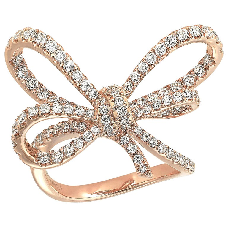 18 Karat Rose Gold and White Diamonds Bow Cocktail Ring For Sale